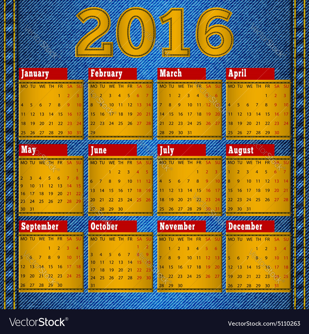 Calendar for 2016 leather patch on denim