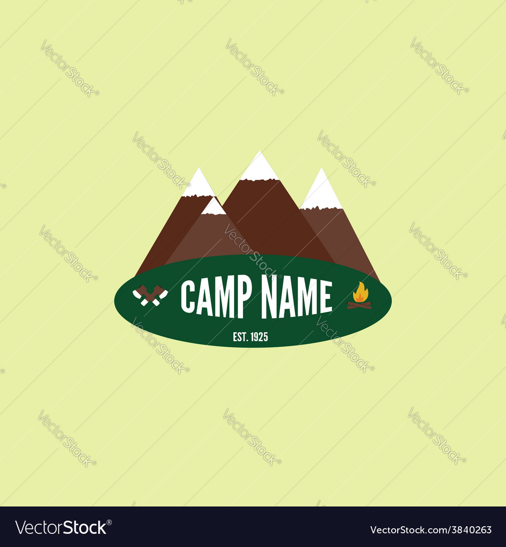 Camping colorful logo Mountain bonfire and crossed