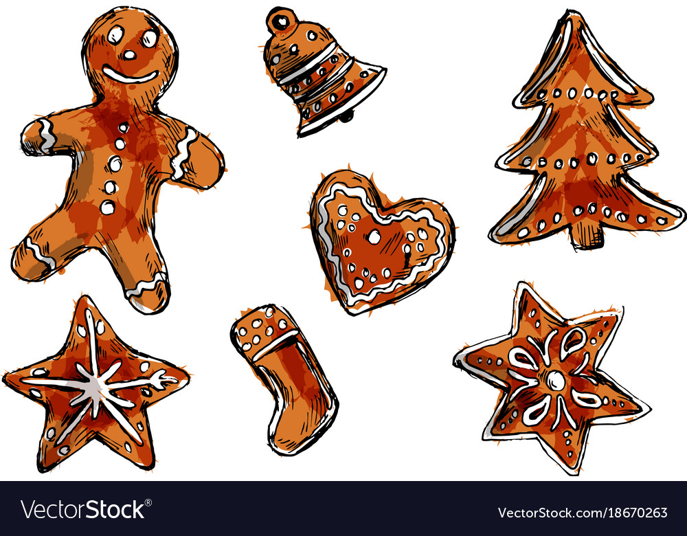 colored hand sketch of christmas cookies vector image
