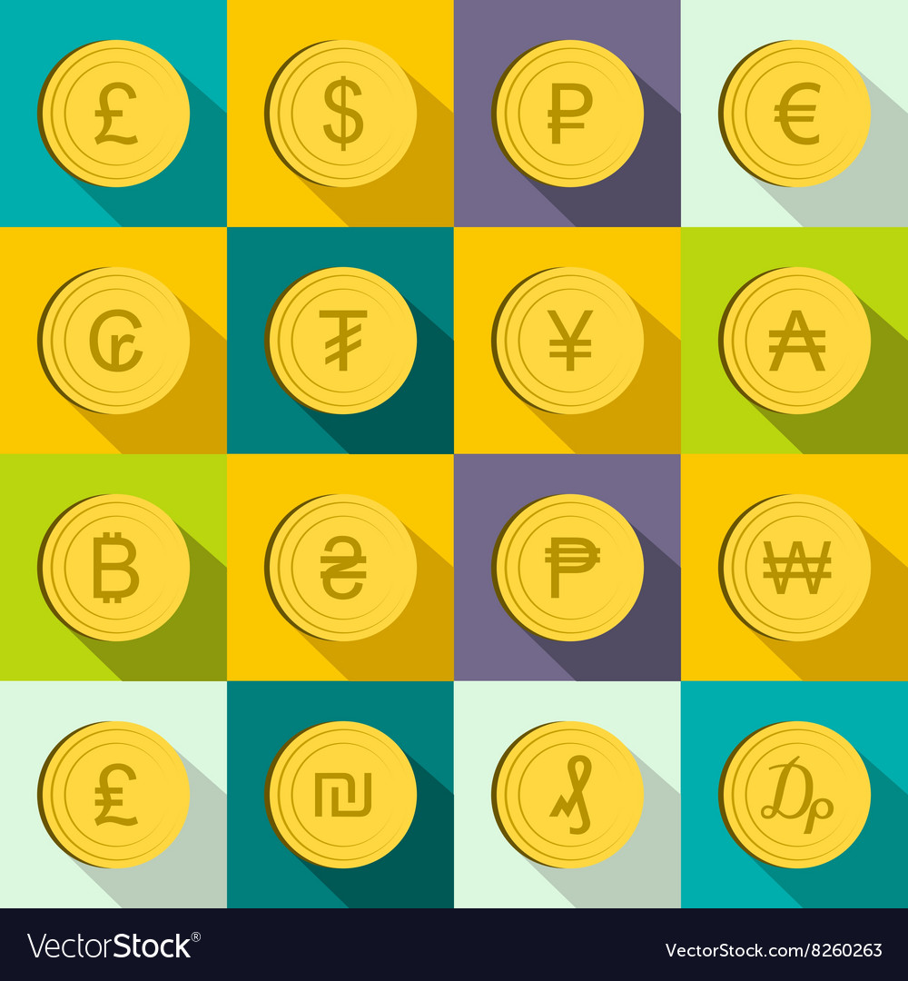 Currency gold coin icons set flat style