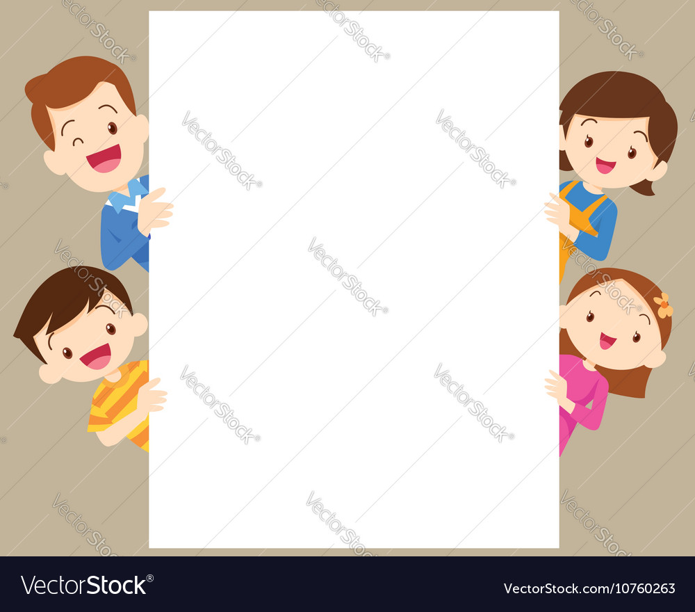Cute family post with white frame Royalty Free Vector Image