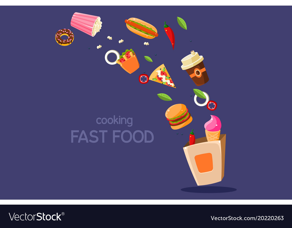 Fresh meal flying into a box cooking fasr food vector image