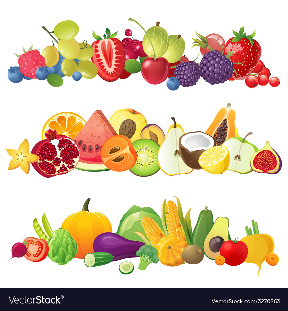 fruits vegetables and berries borders royalty free vector