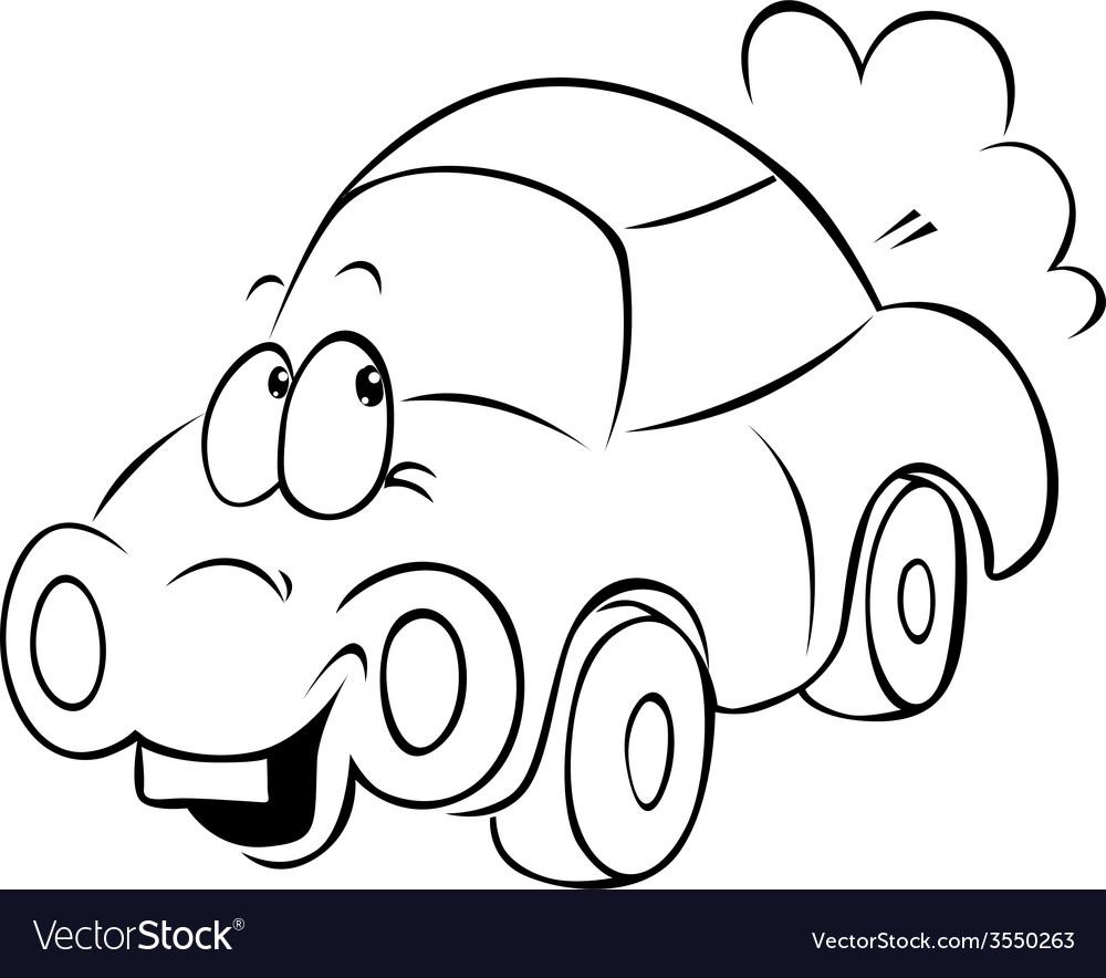 Funny car cartoon - black outline