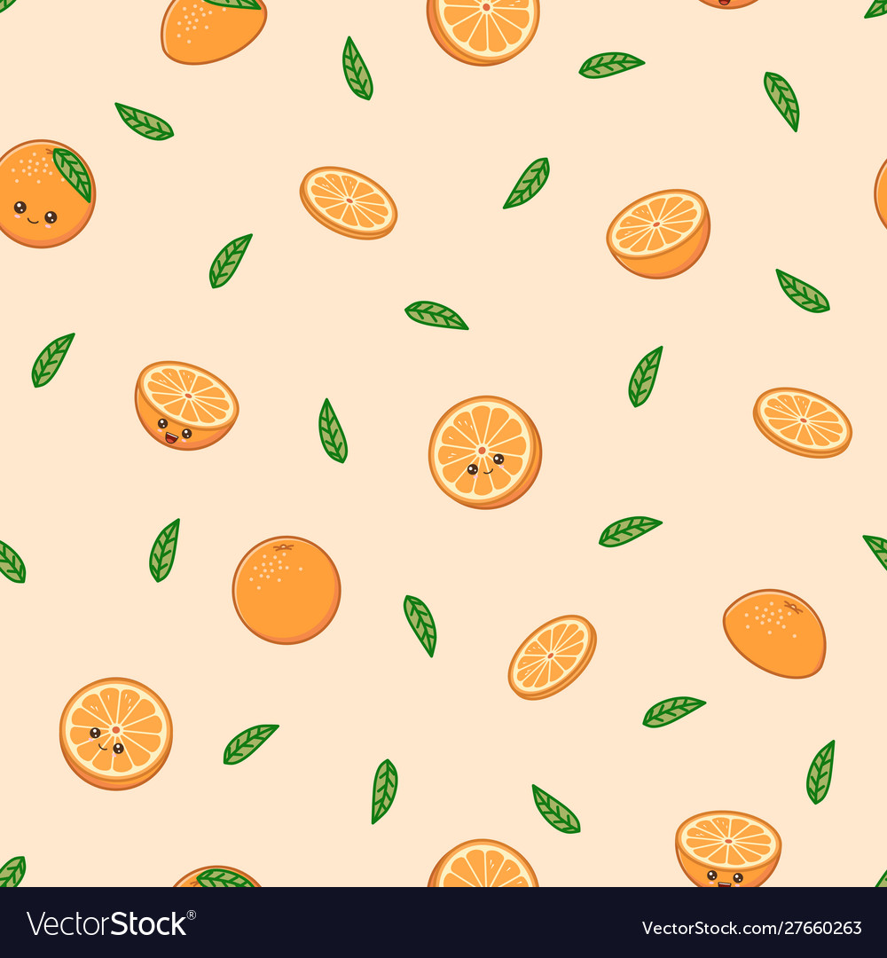 Funny orange pattern kawaii orange on warm