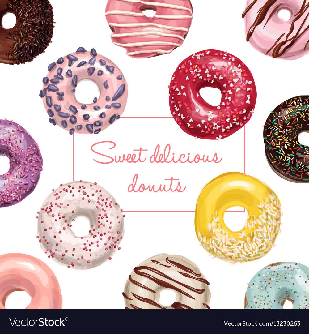 Hand drawn tasty donuts