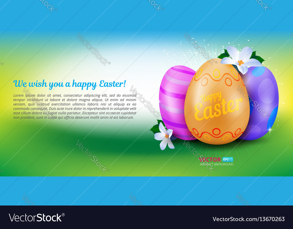 Happy easter greeting card with three painted eggs