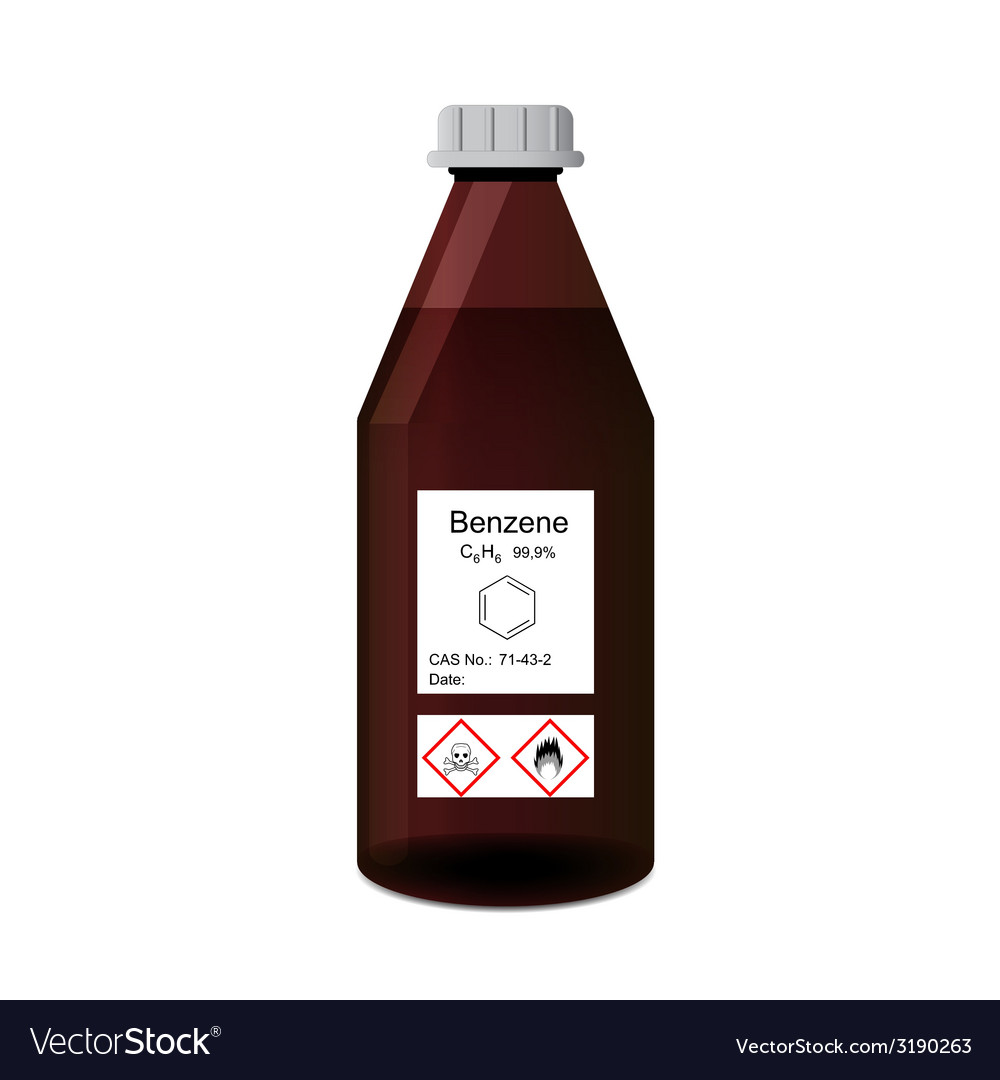 Lab bottle with chemical solvent benzene vector image