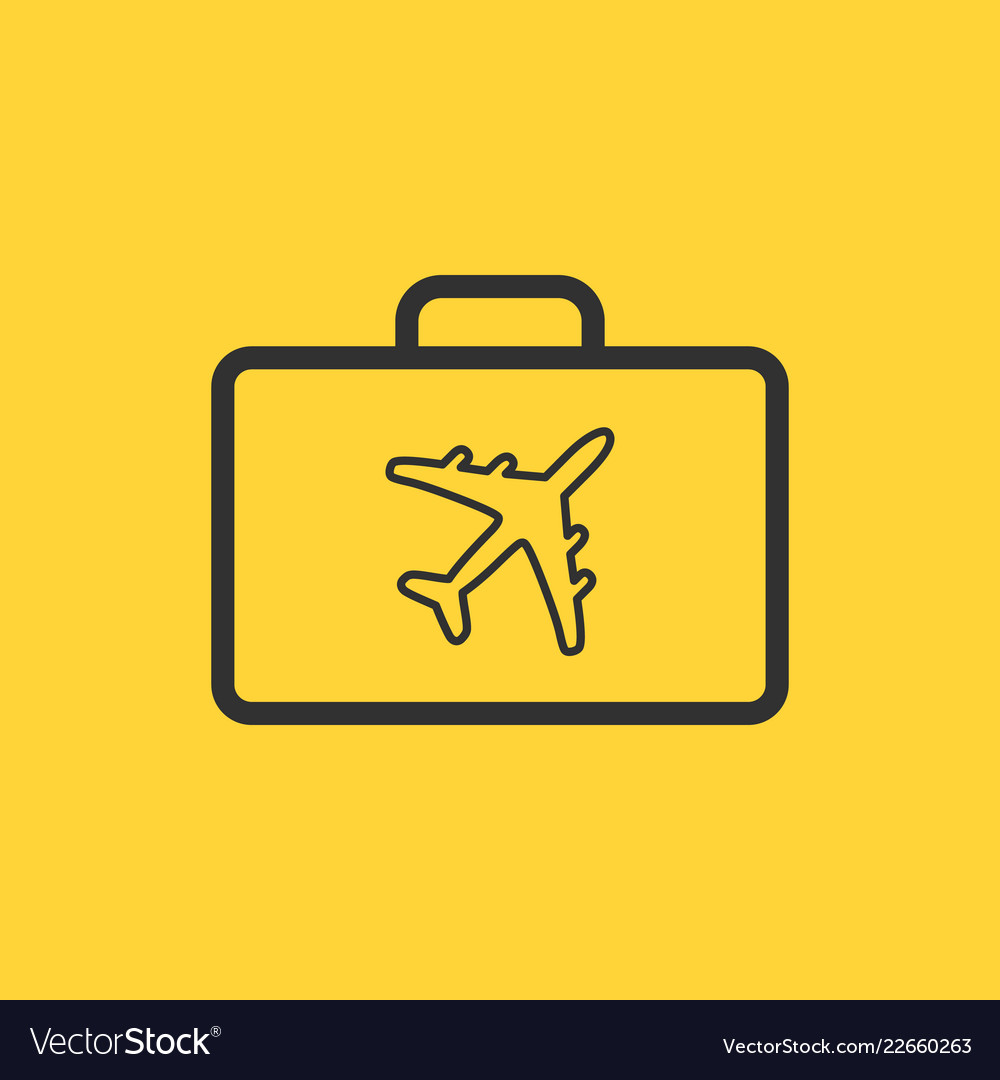 Linear design of briefcase with airplane icon