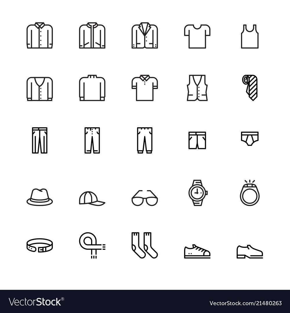 Menswear and accessories icons