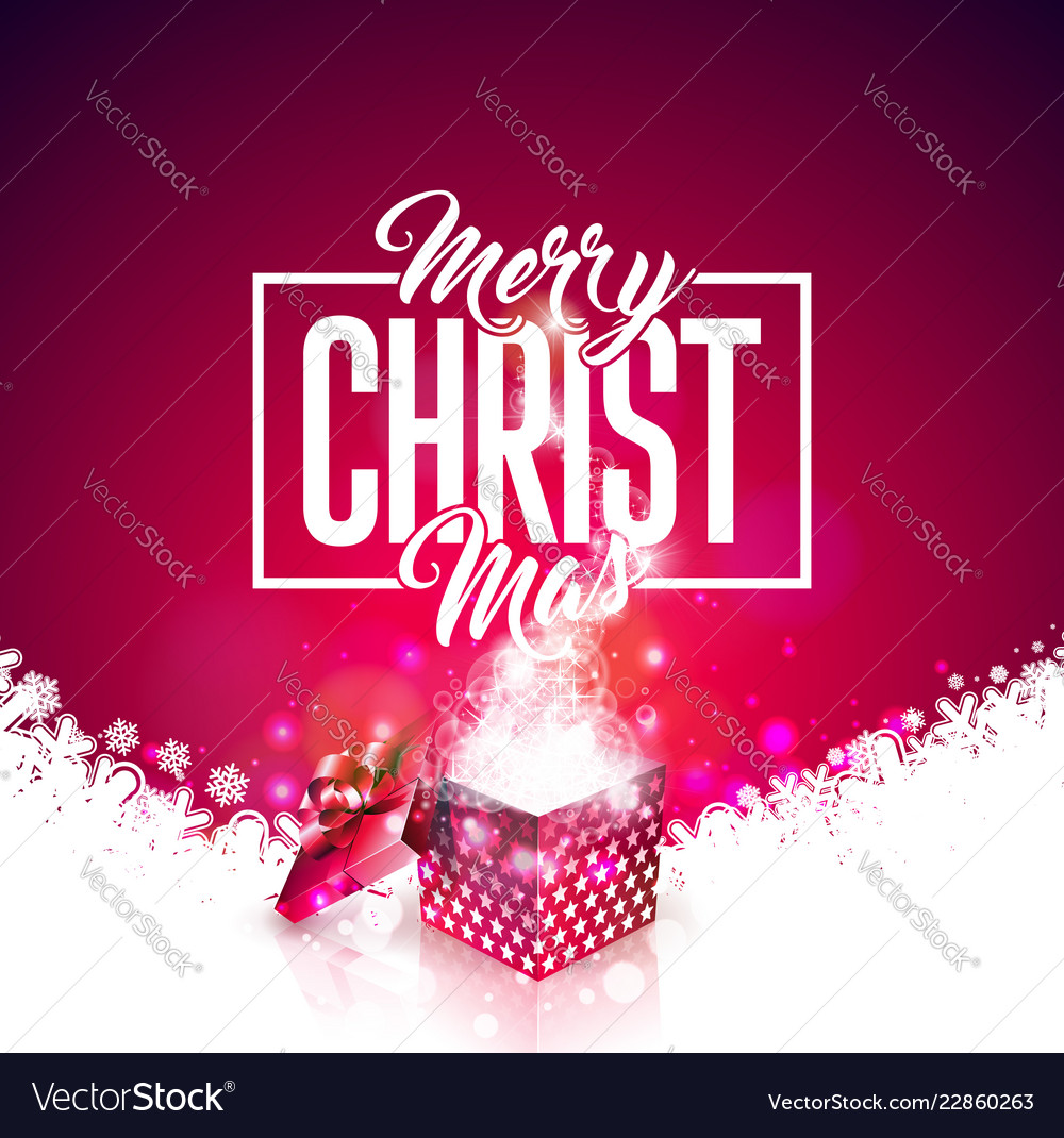 Merry christmas with gift box and
