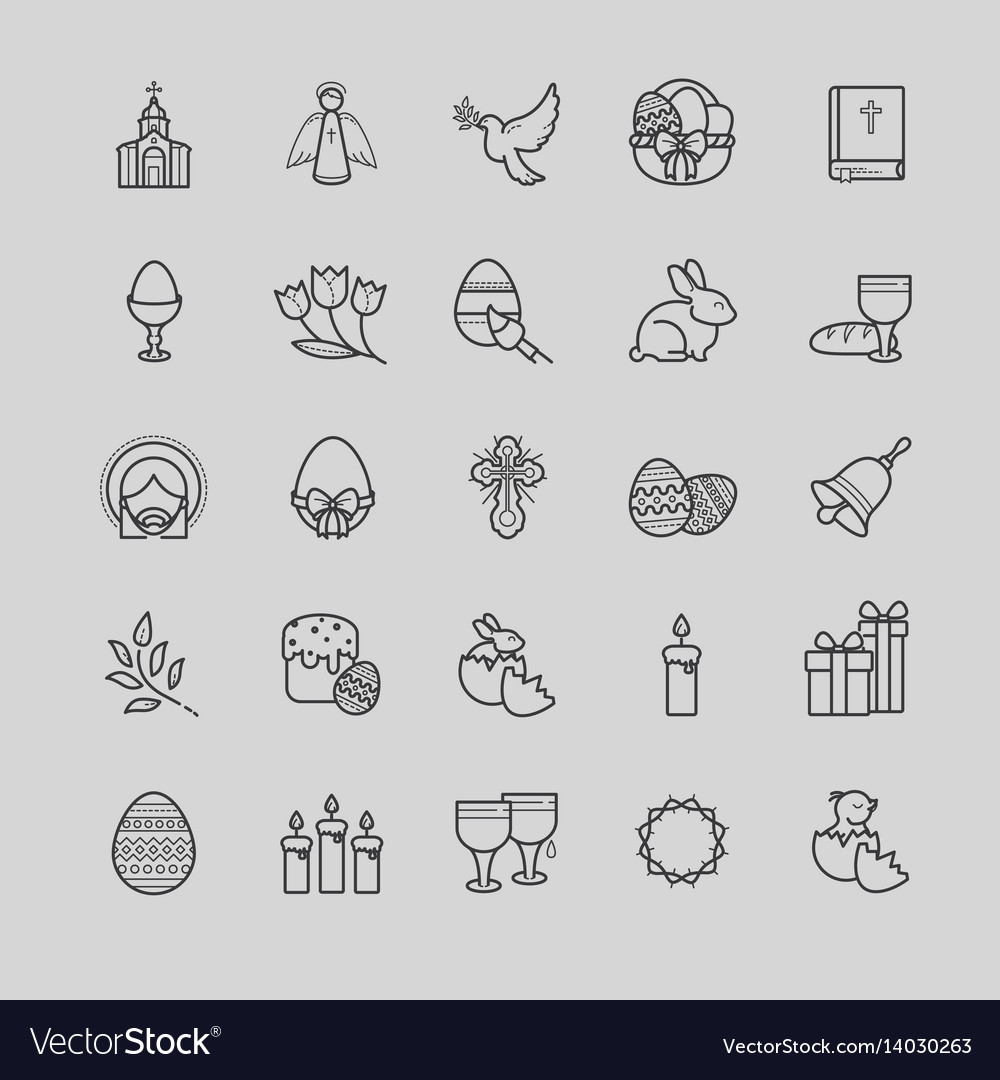 Outline icons set - easter symbols spring