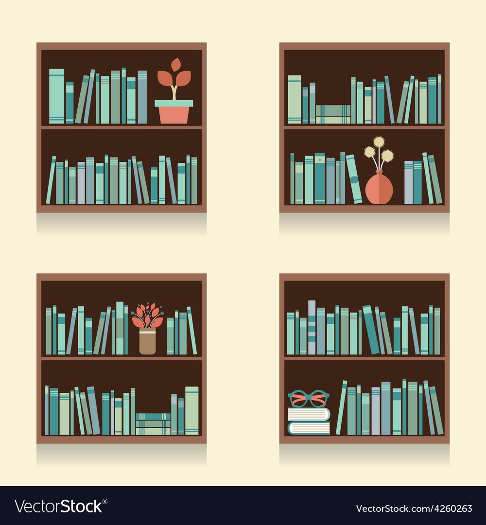 Set Of Wooden Bookshelves On Wall