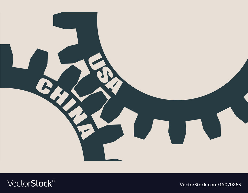 Usa and china text on the gears