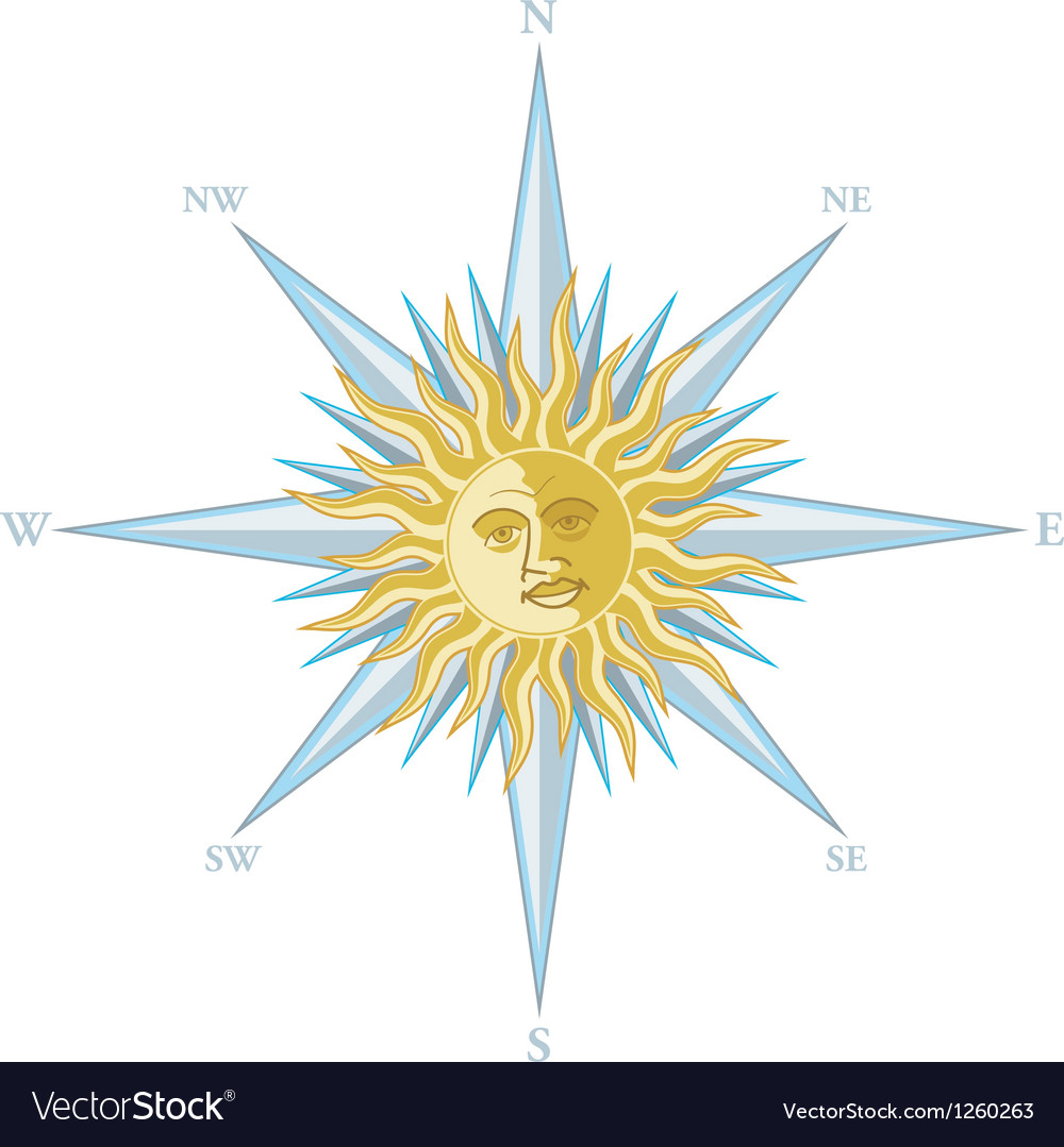 Wind rose with the image sun face