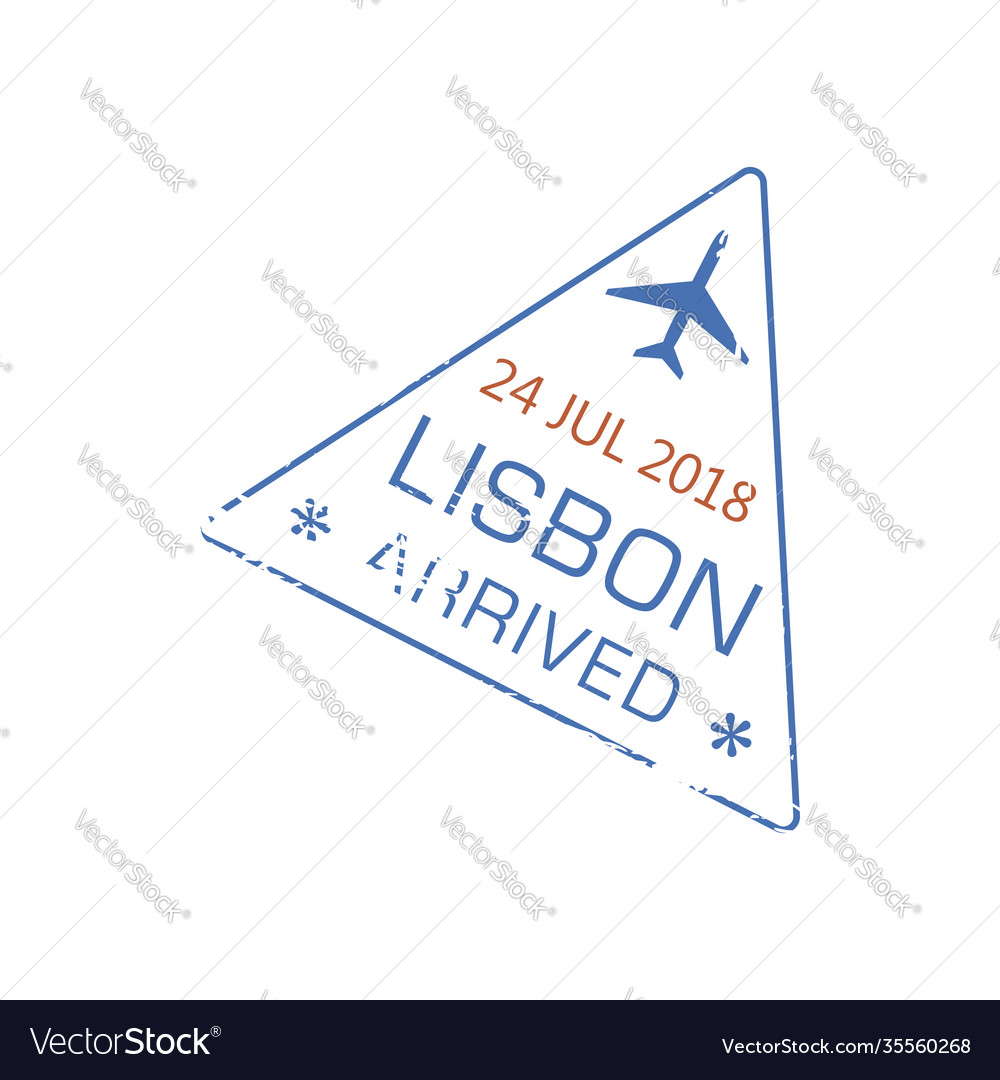 Arrival visa stamp to lisbon airport isolated sign