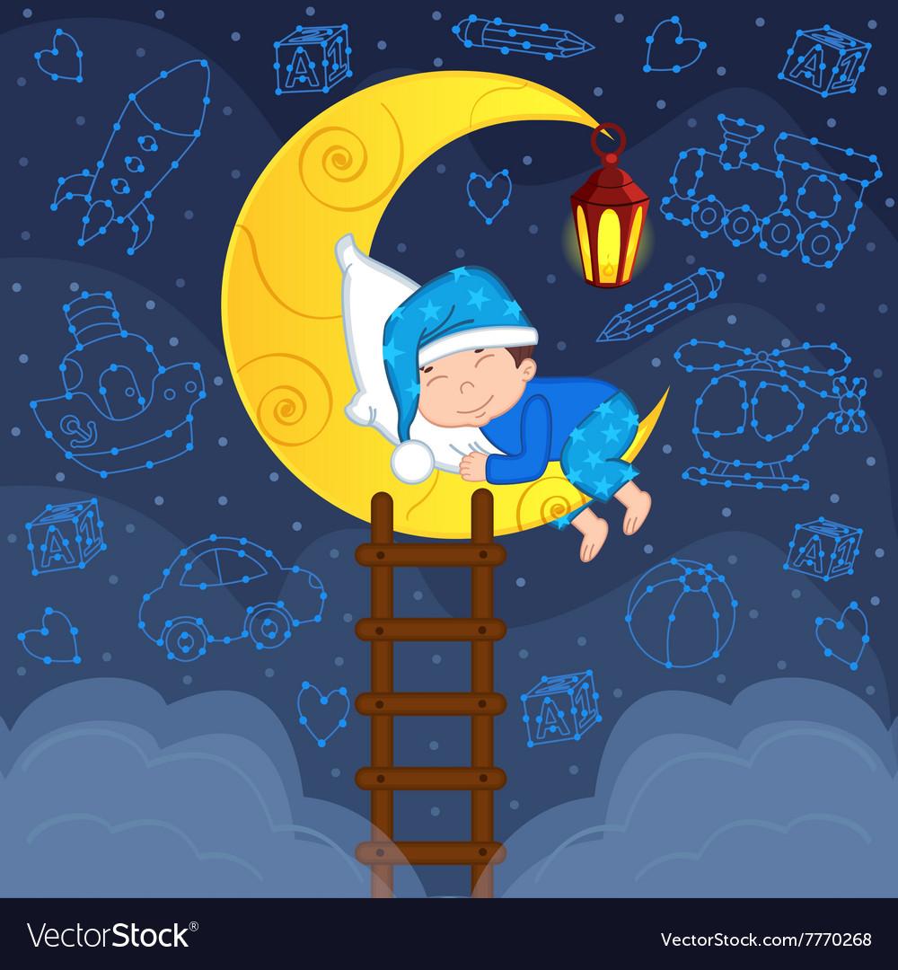 Baby boy sleeping on moon among stars
