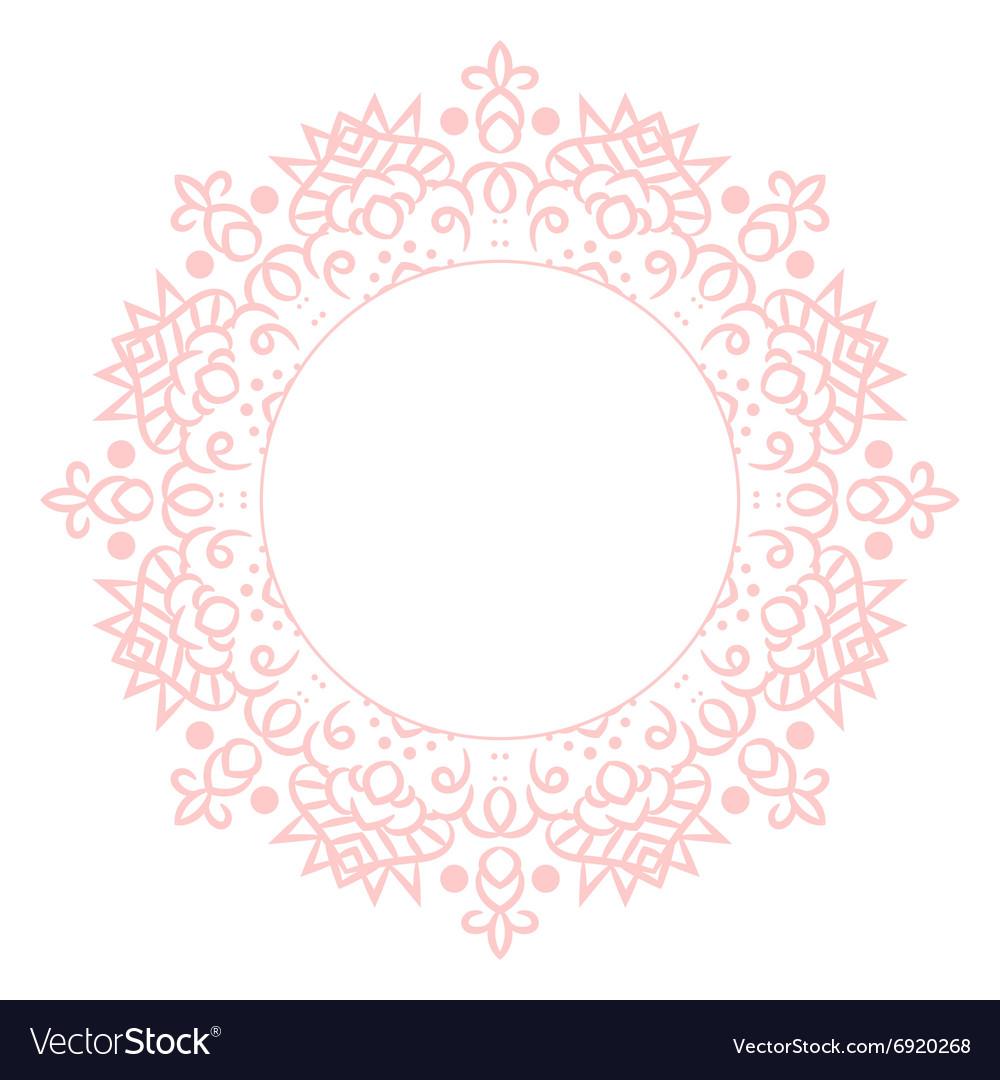 Baby pink mandala circle rosette card template
