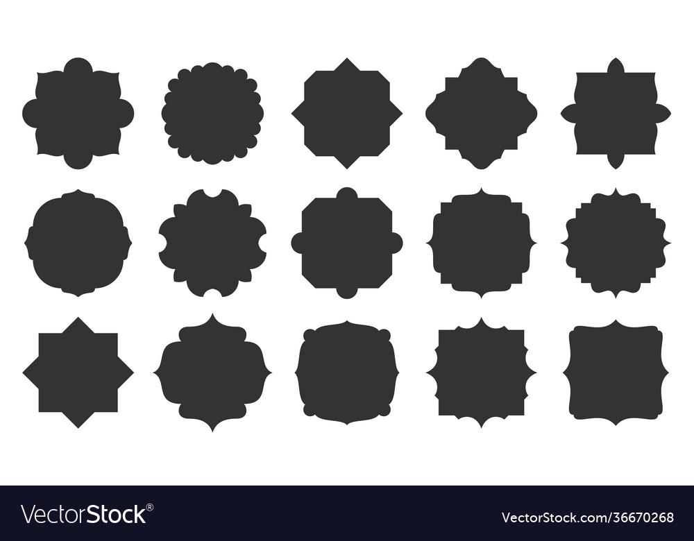 Black label geometric shape silhouette frame set