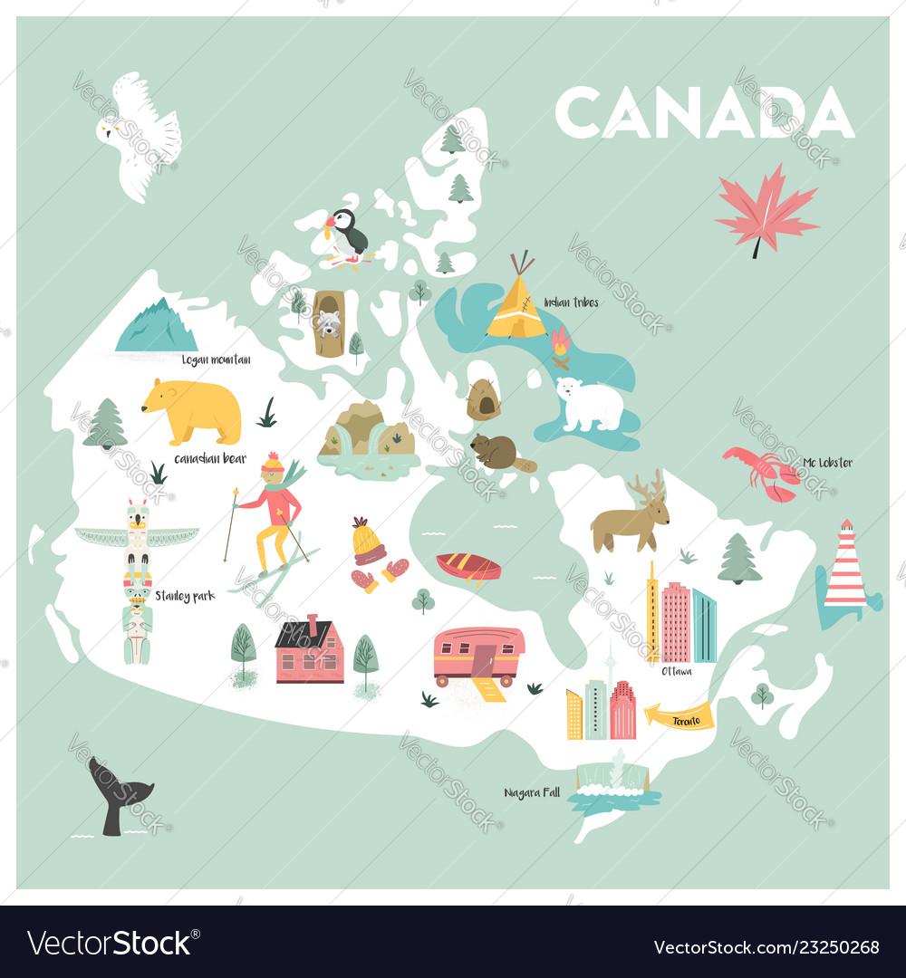 Canada Cartoon Map Cartoon map canada Royalty Free Vector Image   VectorStock