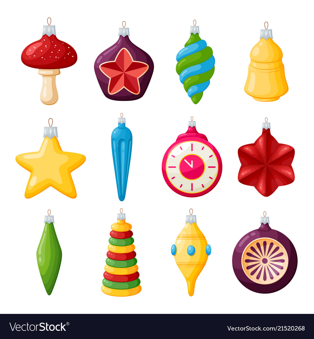 Christmas tree decorations set of realistic