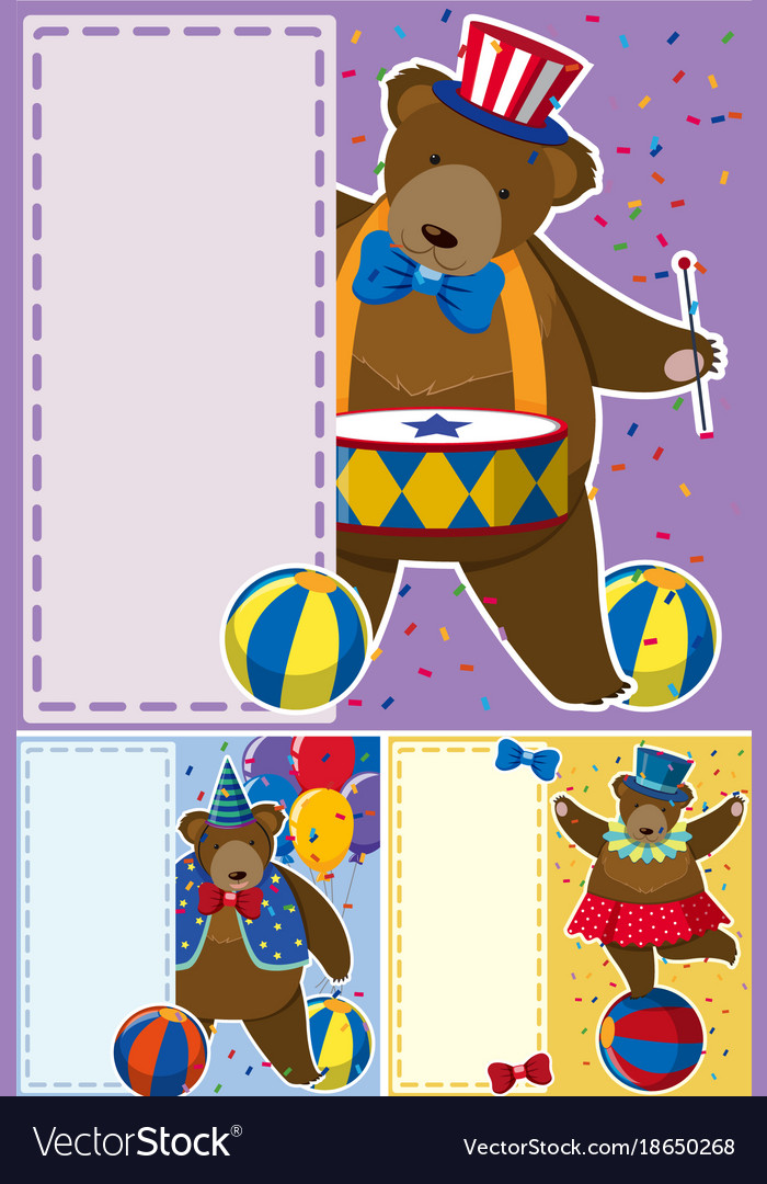 Circus bears and border template vector image