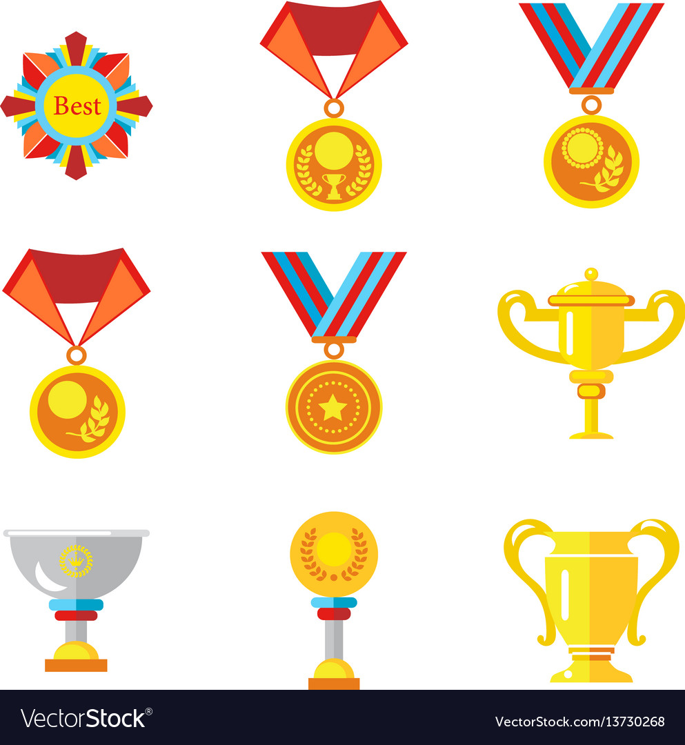 Cups medals awards icons in a flat style on a