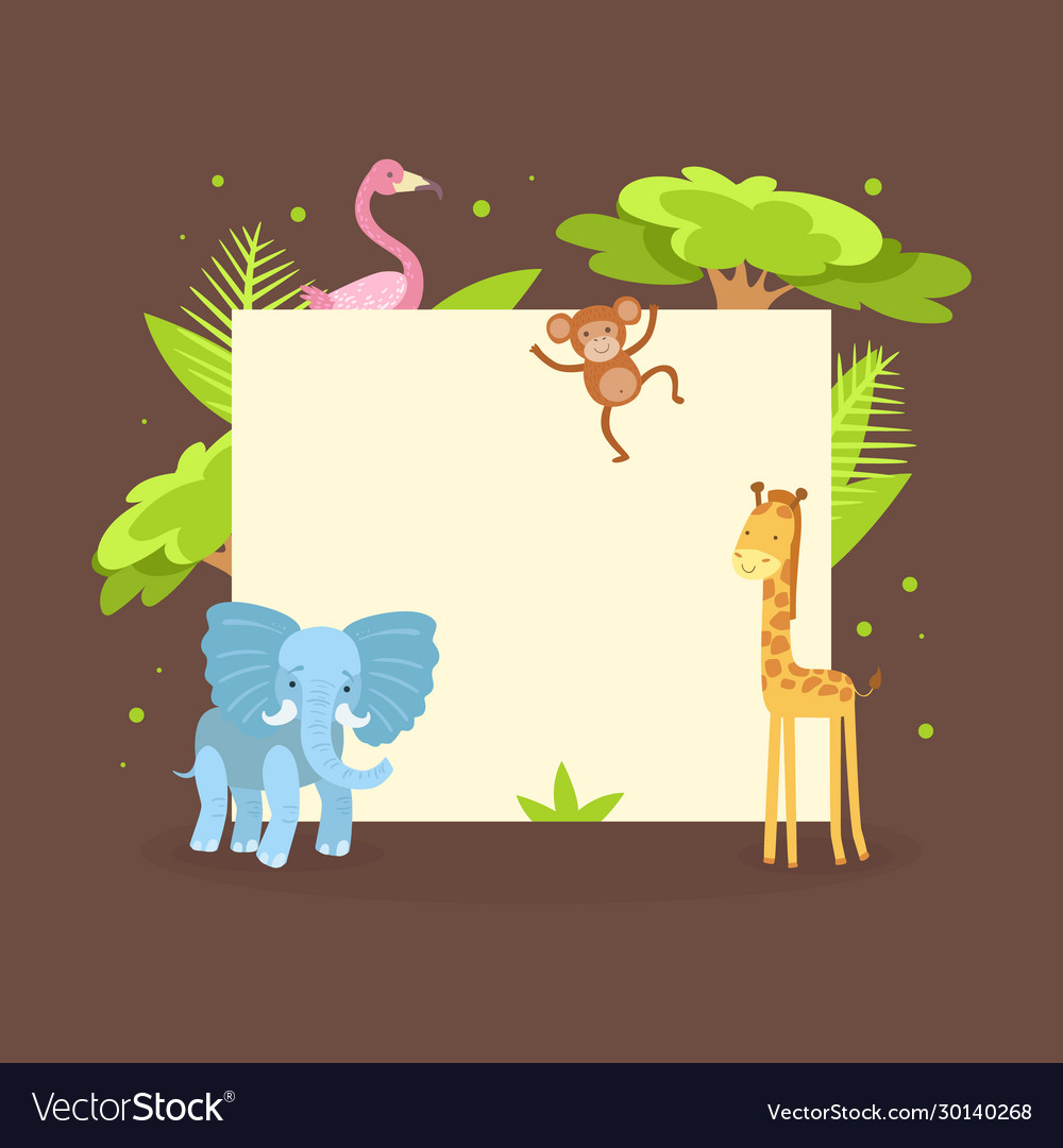 Cute jungle animals with blank banner flamingo