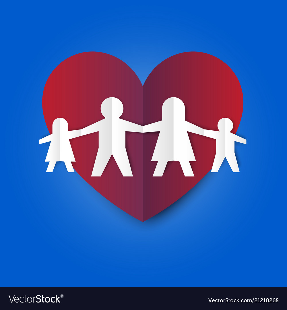 Family love and relation in simple paper fold