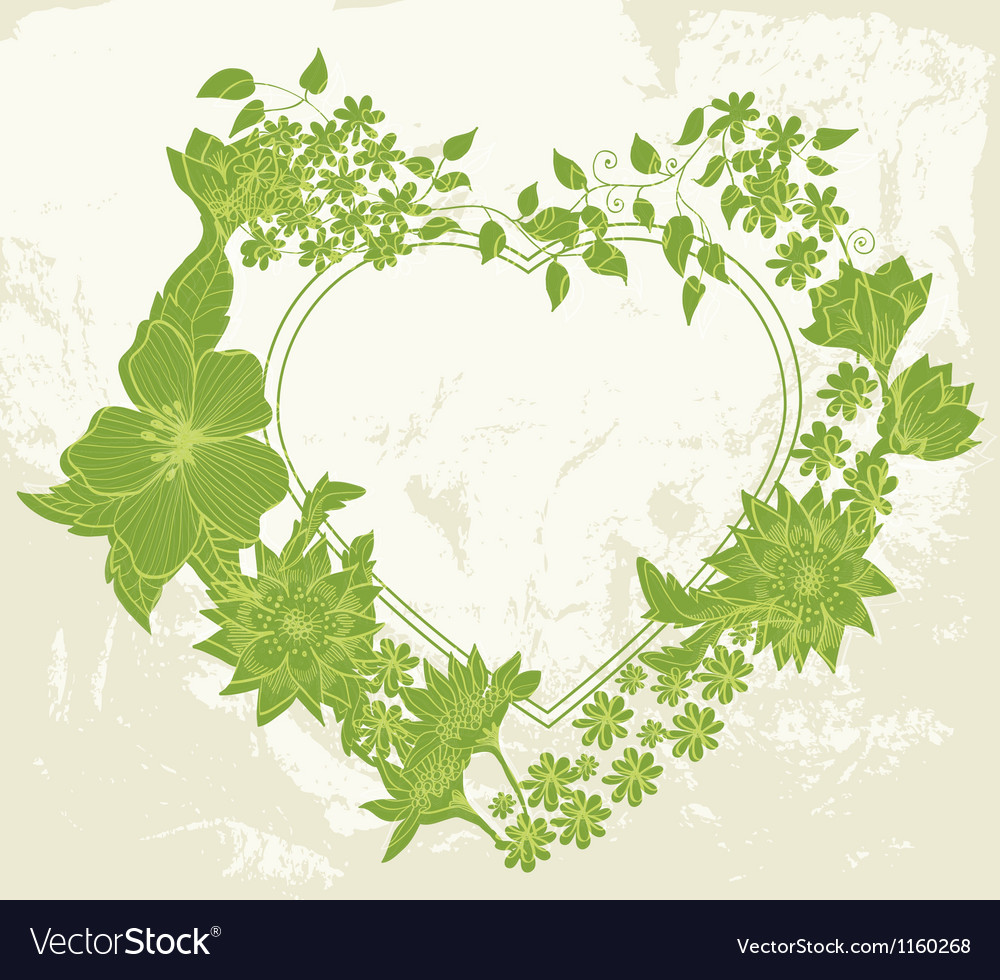 Green floral heart