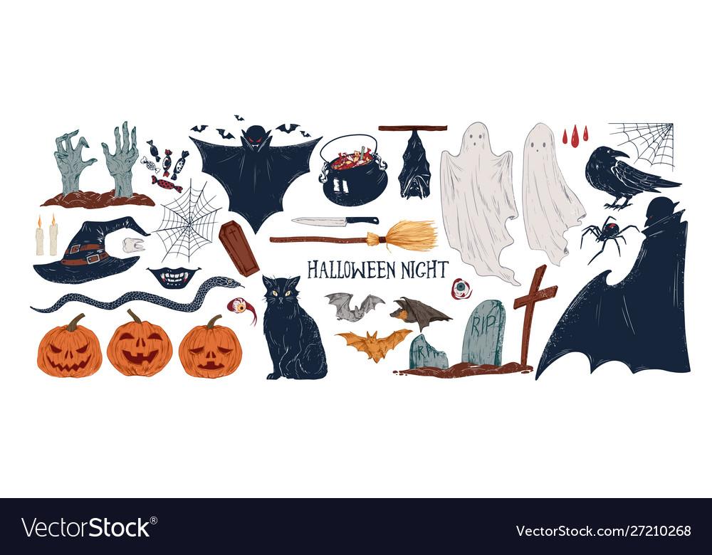 Halloween symbols hand drawn
