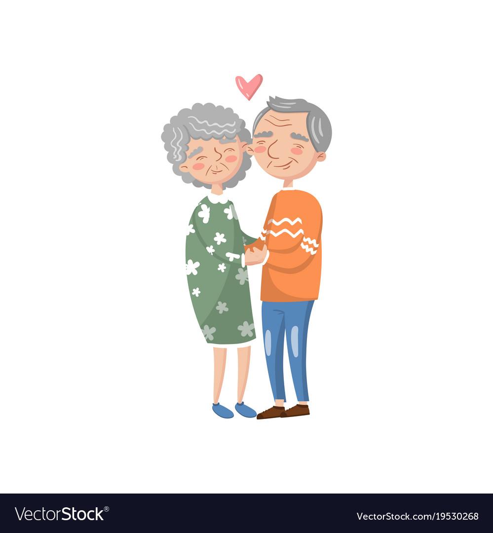 Happy senior couple in love cartoon vector image