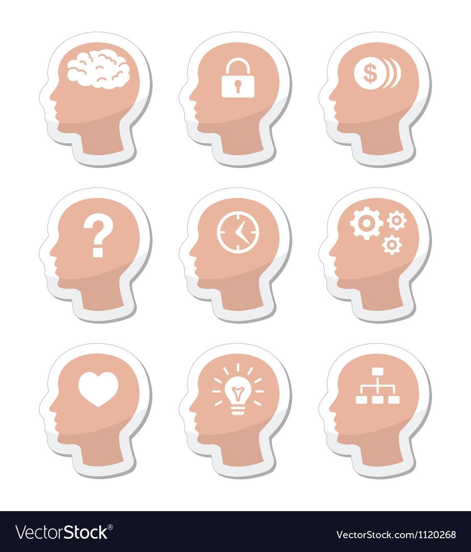 Head brain labels set vector image