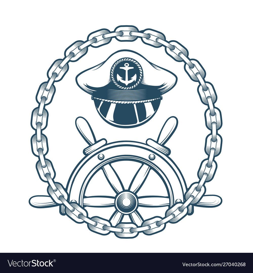 Nautical emblem with captain hat and navigation