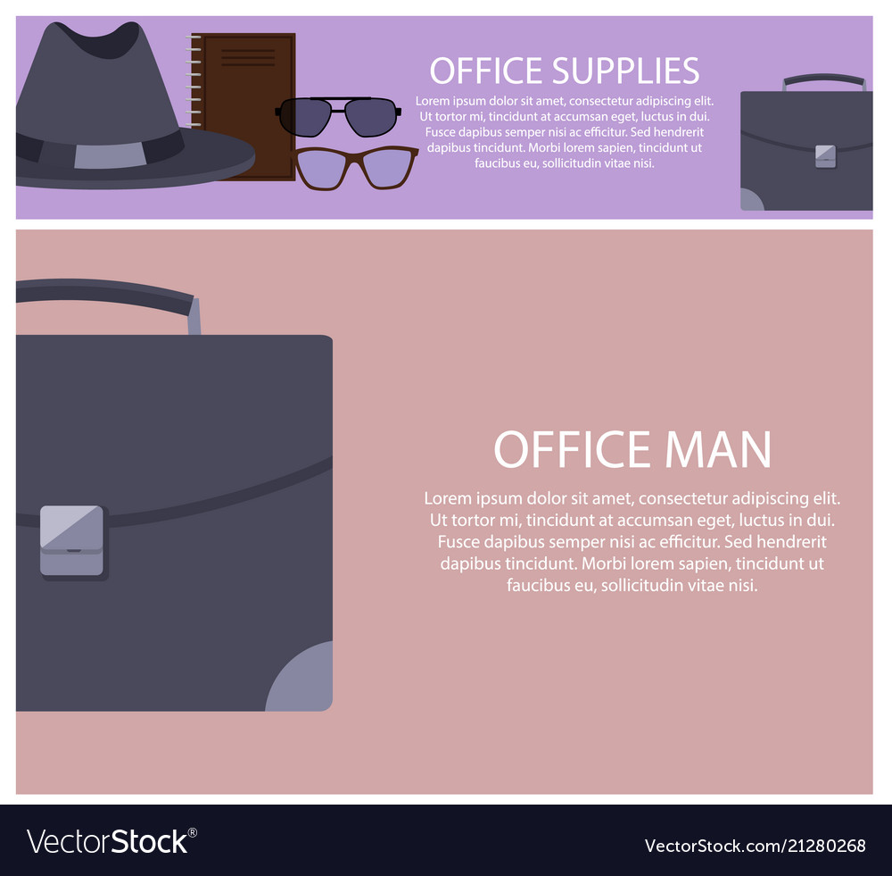 Office supplies and man set