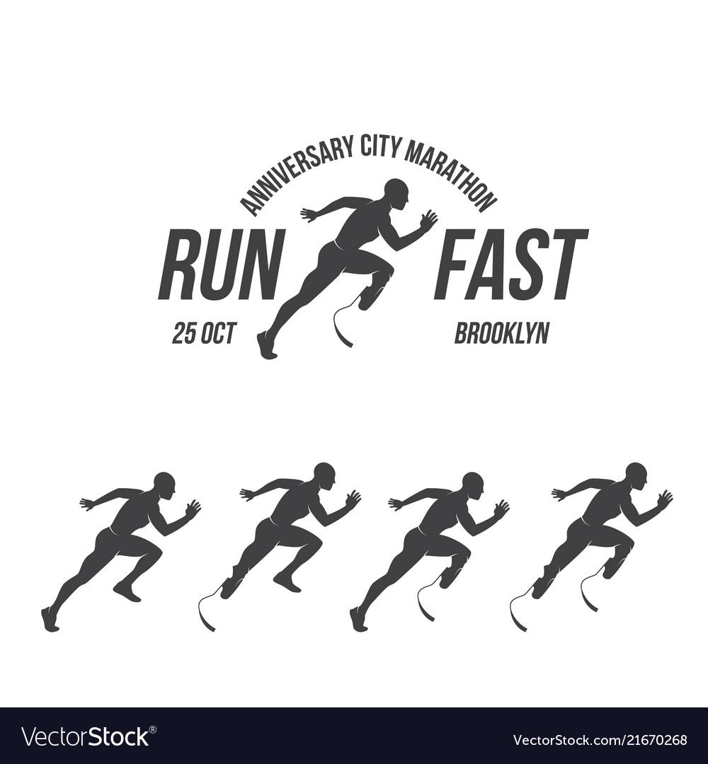 Running logo marathon concept sport activities
