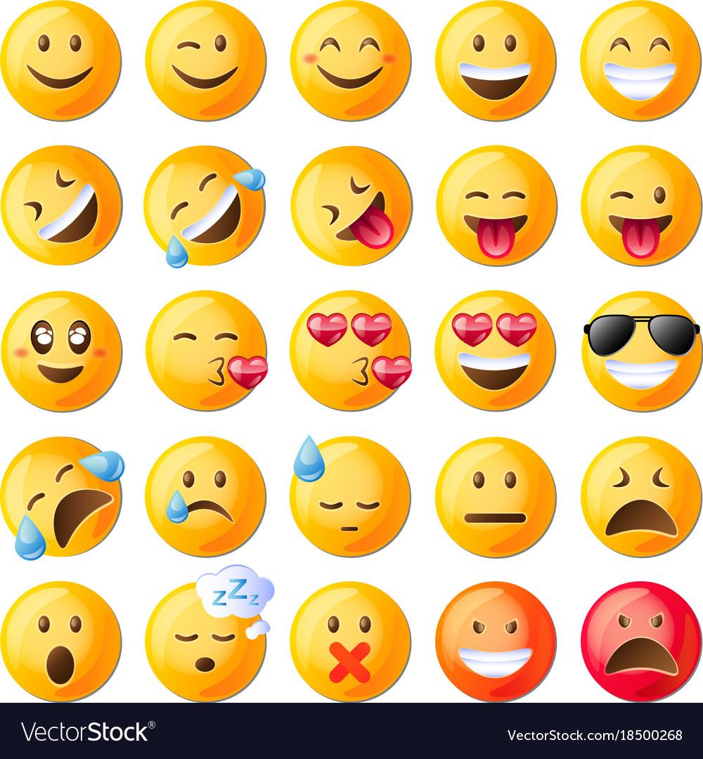 Set of cute emoticons set of emoji
