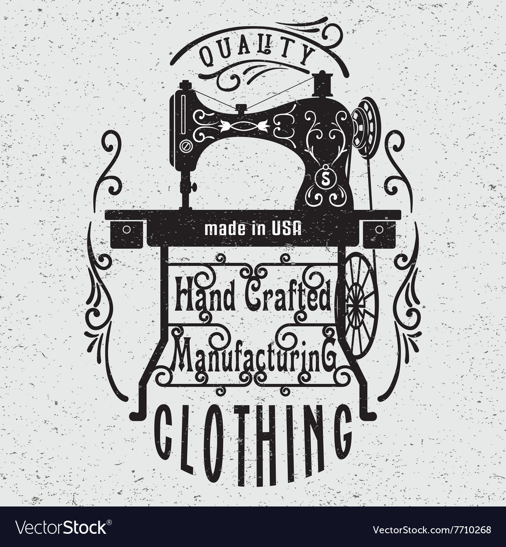 Typography poster with vintage sewing machine