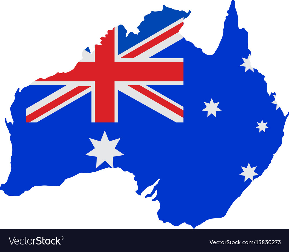 Australia Map And Flag.Australia Map With Flag