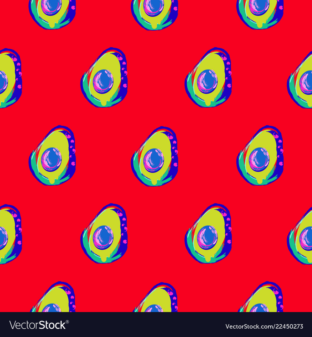 Avocado abstract red seamless pattern print