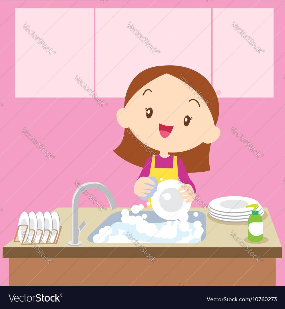 Cute girl Dish washing vector image