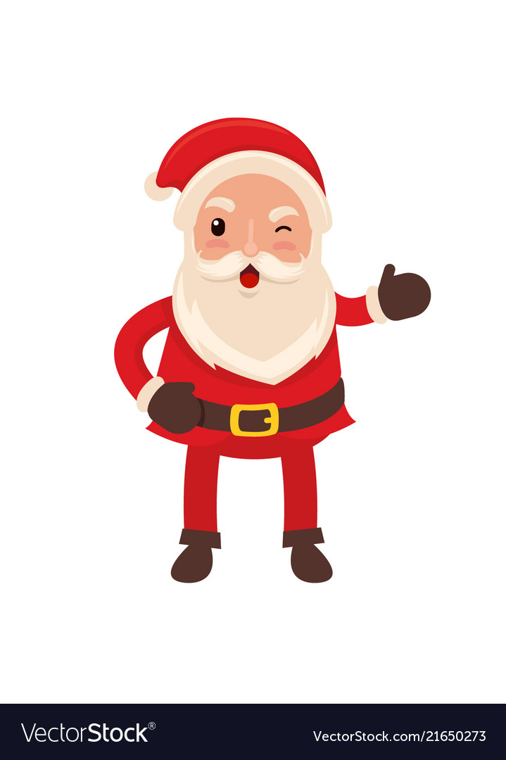Happy funny santa claus in flat style