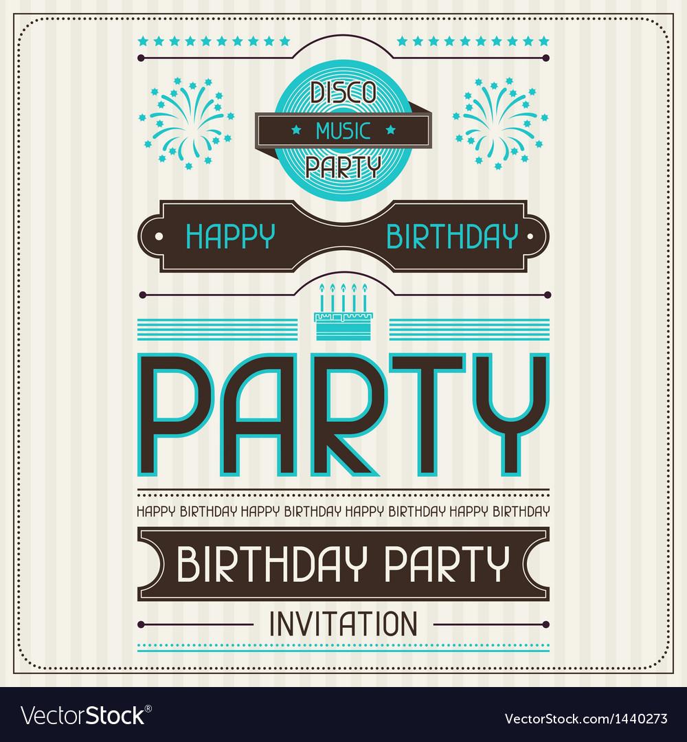 Invitation Card For Birthday In Retro Style