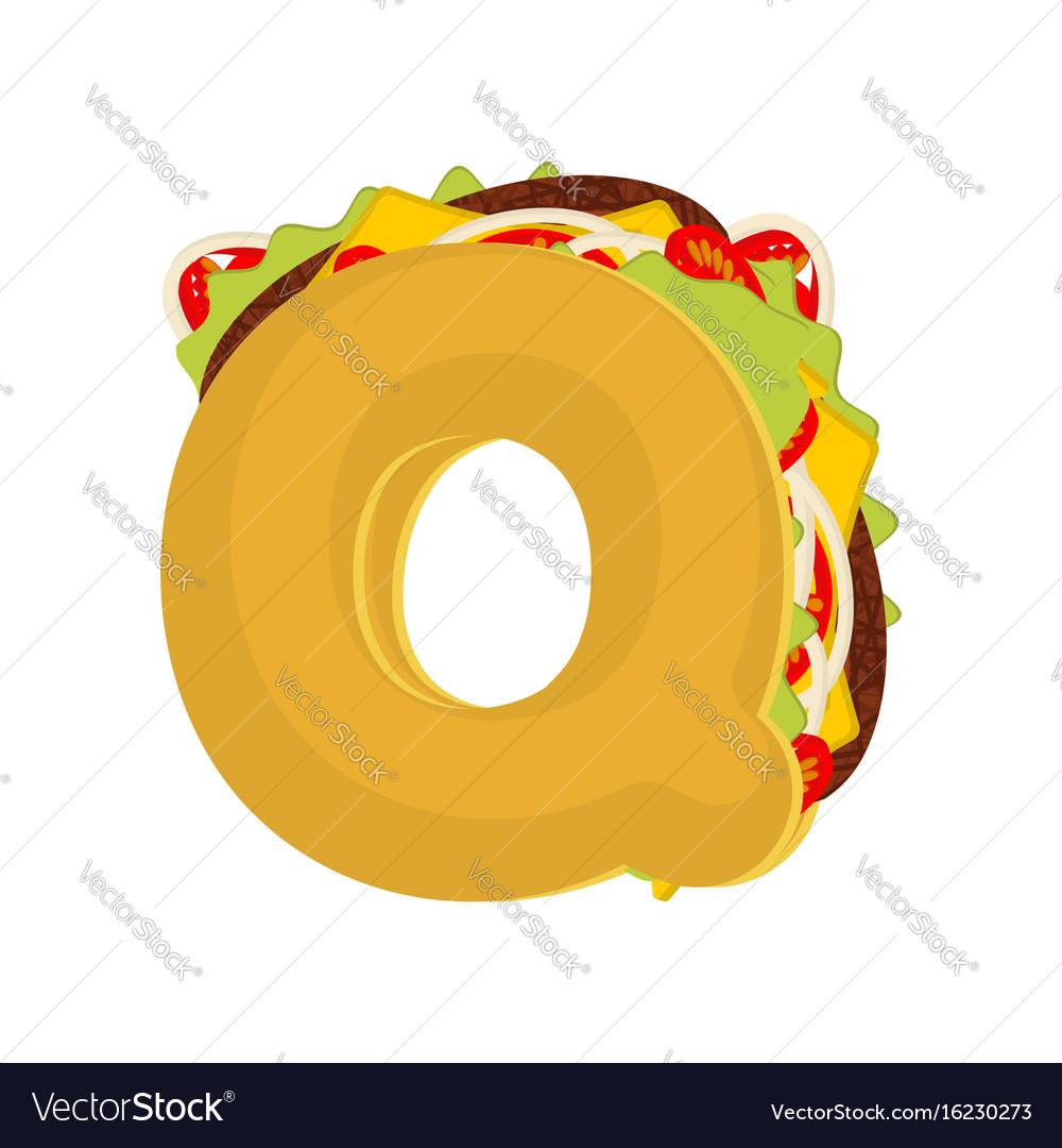 Letter q tacos mexican fast food font taco vector image