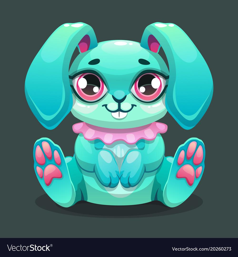 Little cute cartoon sitting bunny
