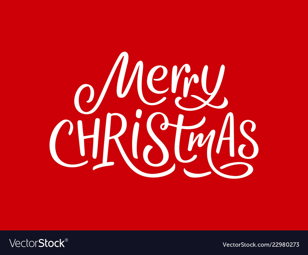 Merry christmas calligraphy text on red card