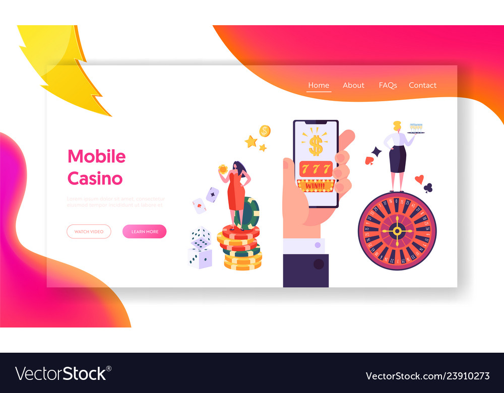 Online mobile casino gambling concept landing page