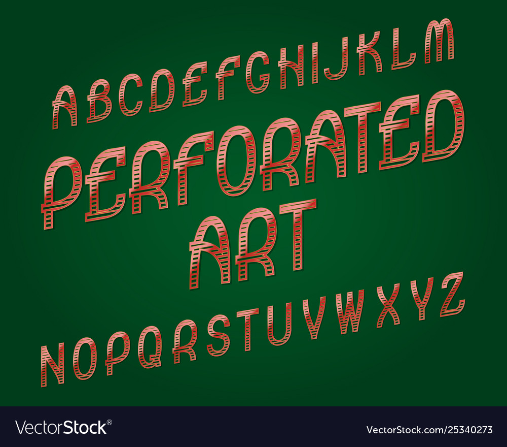 Perforated art typeface red golden font isolated