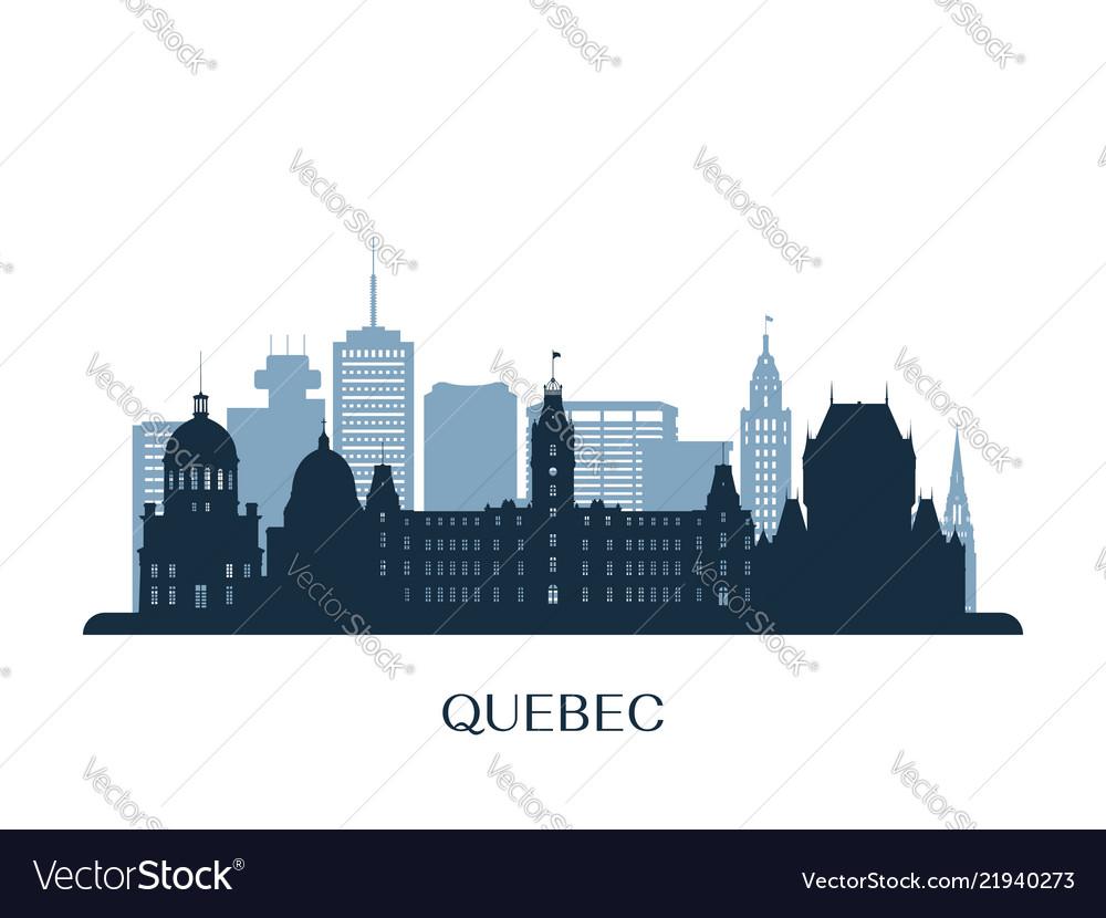 Quebec skyline monochrome silhouette