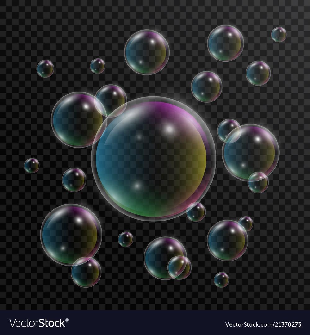 Realistic soap bubbles set of soap bubbles with